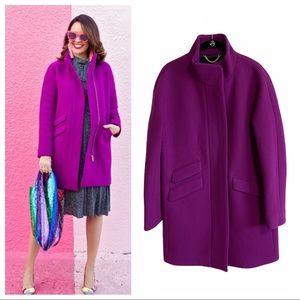 J. Crew cocoon stadium cloth wool coat bright plum